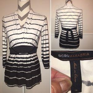 BCBGMAXAZRIA | belt tie dress top